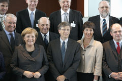 Angela Merkel, Bill Gates Stock Photo