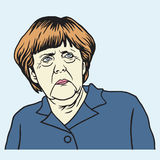 Angela Merkel Cartoon Vector Portrait stock illustrationer