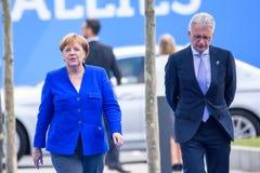 Angela Merkel, chancelier de l'Allemagne, pendant l'arrivée au SOMMET d'OTAN 2018 images stock