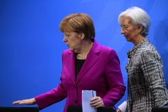 Angela Merkel, Christine Lagarde Lizenzfreie Stockfotografie