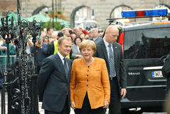 Angela Merkel and Donald Tusk stock images