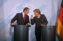 Angela merkel, Donald Tusk Στοκ εικόνα με δικαίωμα ελεύθερης χρήσης