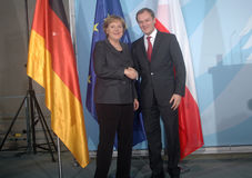 Angela merkel,  Donald Tusk Stock Photos
