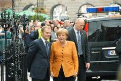 Angela Merkel e Donald Tusk Imagens de Stock