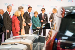 Angela Merkel e Mark Rutte no Hannover Messe, o 7 de abril de 2014 Imagem de Stock