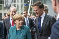Angela Merkel e Mark Rutte que chegam no Hannover Messe Imagem de Stock