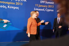 Angela Merkel e Nicos Anastasiades, concorrente presidencial Fotografia de Stock