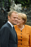 Angela Merkel en Donald Tusk Stock Foto's