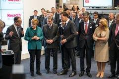 Angela Merkel en Mark Rutte in Hanover Messe, 7 April 2014 Royalty-vrije Stock Foto