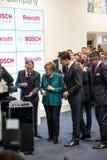 Angela Merkel en Mark Rutte in Hanover Messe, 7 April 2014 Stock Foto