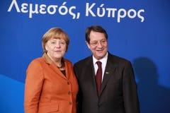 Angela Merkel en Nicos Anastasiades, Presidentiële Mededinger Royalty-vrije Stock Afbeeldingen