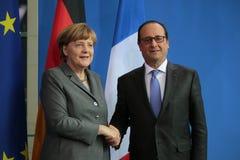Angela Merkel Francois Hollande arkivfoto