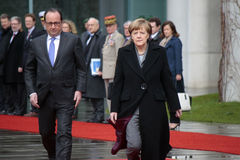 Angela Merkel, Francois Hollande Stock Image