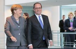 Angela Merkel, Francois Hollande Stock Image