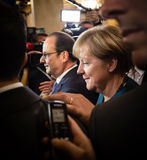 Angela Merkel and Francois Hollande after the meeting on the ASE Stock Images