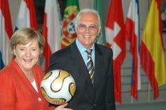 Angela Merkel, Franz Beckenbauer Stock Photos