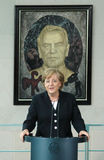 Angela Merkel, Gerhard Schroeder Stock Photo
