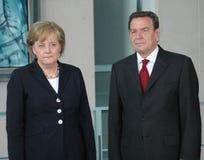 Angela Merkel, Gerhard Schroeder Stock Images