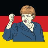Angela Merkel on German Flag Background. Vector Illustration. September 26, 2017 Royalty Free Stock Photography