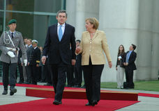 Angela Merkel, Gordon Brown. JULY 16, 2007 - BERLIN: British Prime Minister Gordon Brown, Chancellor Angela Merkel at a reception with military honours in the royalty free stock images