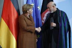 Angela Merkel, Hamid Karsai Stock Photo
