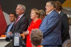 Angel Merkel in election battle 2017 in Heidelberg. Angela Merkel has been plastered with tomatos stock photography