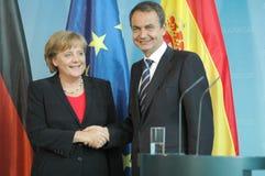 Angela Merkel, Jose Luis Rodriguez Zapatero Royalty Free Stock Photo