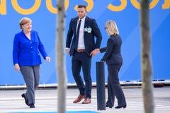 Angela Merkel, Kanselier van Duitsland, tijdens aankomst aan de NAVO TOP 2018 stock fotografie