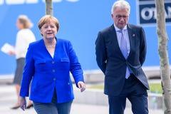 Angela Merkel, Kanselier van Duitsland, tijdens aankomst aan de NAVO TOP 2018 stock foto