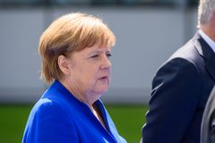 Angela Merkel, Kanselier van Duitsland, tijdens aankomst aan de NAVO TOP 2018 royalty-vrije stock foto