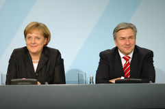 Angela Merkel, Klaus Wowereit. DECEMBER 19, 2007 - BERLIN: Chancellor Angela Merkel and Klaus Wowereit during a press conference in the Chanclery in Berlin Royalty Free Stock Photo