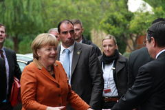 Angela Merkel in Limassol, Cyprus, January, 2013. German Federal Chancellor Dr. Angela Merkel at the special summit of the leaders of the right-centrist stock images