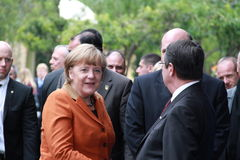 Angela Merkel in Limassol, Cyprus, January, 2013. German Federal Chancellor Dr. Angela Merkel at the special summit of the leaders of the right-centrist stock image