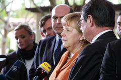 Angela Merkel in Limassol, Cyprus, January, 2013. German Federal Chancellor Dr. Angela Merkel at the special summit of the leaders of the right-centrist royalty free stock photos
