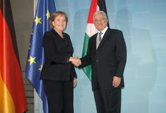 Angela merkel, Mahmud Abbas Stock Photos