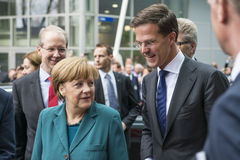 Angela Merkel and Mark Rutte arriving at the Hannover Messe Stock Image
