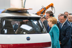 Angela Merkel and Mark Rutte at the Hannover Messe, 7 April 2014 Stock Photo