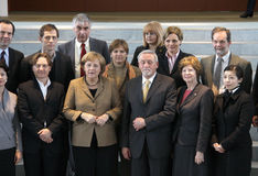 Angela Merkel, members of NGOs. JANUARY 16, 2008 - BERLIN: Chancellor Angela Merkel with members of Non Governmental Organizations (NGO) in the Chanclery in royalty free stock photography