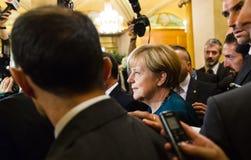 Angela Merkel na de vergadering over de ASEM-top Royalty-vrije Stock Fotografie