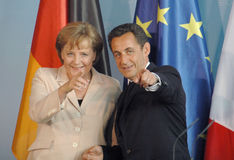 Angela Merkel, Nicolas Sarkozy Photo stock