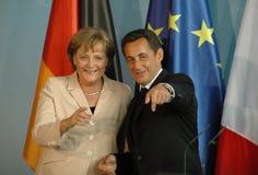Angela Merkel, Nicolas Sarkozy Stock Photos