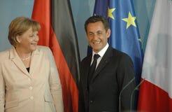 Angela Merkel, Nicolas Sarkozy Stock Images