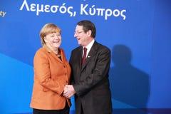 Angela Merkel and Nicos Anastasiades, Presidential Contender Stock Image