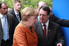 Angela Merkel and Nicos Anastasiades, Presidential Contender. German Federal Chancellor Dr. Angela Merkel and Nicos Anastasiades, Candidate for President of stock image