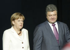 Angela Merkel, Petro Poroshenko Photos stock