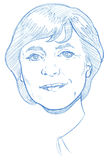 Angela Merkel portrait - Pencil Version Stock Photo