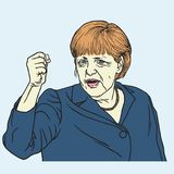 Angela Merkel Portrait Vector Illustration 26 september, 2017 Royalty-vrije Stock Foto