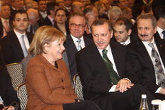 Angela Merkel and Recep Tayyip Erdogan Royalty Free Stock Image