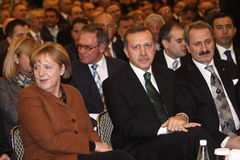 Angela Merkel and Recep Tayyip Erdogan Stock Images