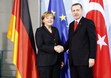 Angela Merkel Recep Tayyip Erdogan Arkivbild